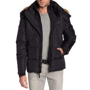 S13 Matte Faux Fur Hood Trim Down Jacket Sz Med